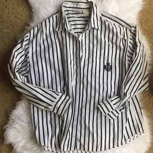 90s Vintage Oversized Striped Button Down Shirt